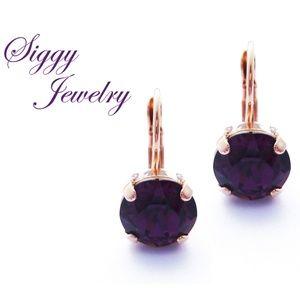 Swarovski® Crystal Earrings, Amethyst 10mm Drops